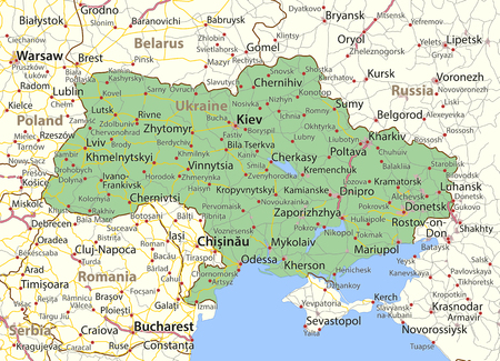 Map of Ukraine. Shows country borders, urban areas, place names and roads. Labels in English where possible.