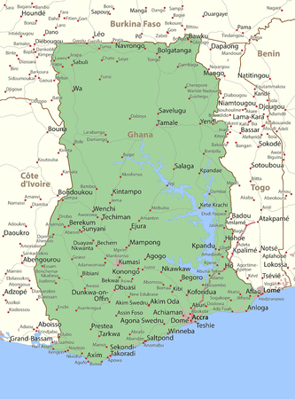 Map of Ghana. Shows country borders, urban areas, place names and roads. Labels in English where possible.