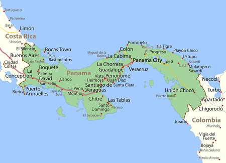 Map of Panama. Shows country borders, urban areas, place names and roads. Labels in English where possible.