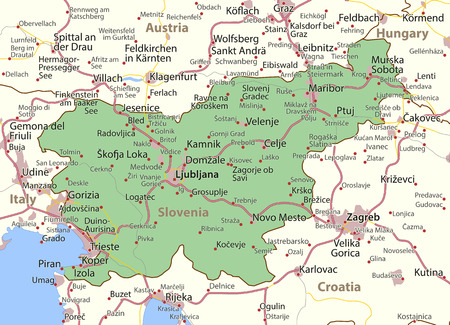 Map of Slovenia. Shows country borders, urban areas, place names and roads. Labels in English where possible. Imagens - 95808816