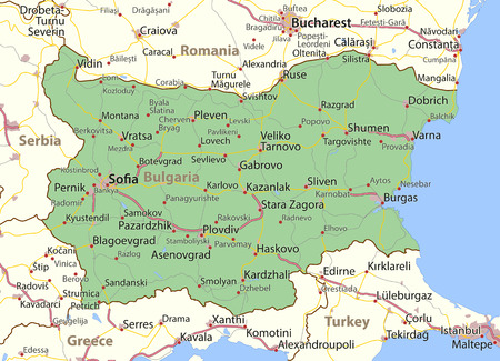 Map of Bulgaria. Shows country borders, urban areas, place names and roads. Labels in English where possible. Ilustração
