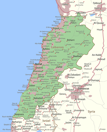 Map of Lebanon. Shows country borders, urban areas, place names and roads. Labels in English where possible.