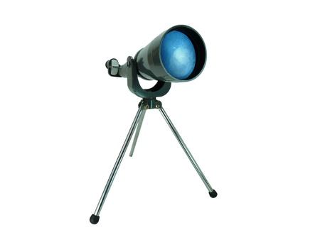 A vintage gray metal telescope