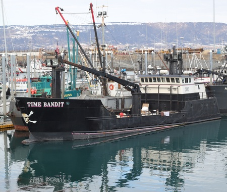 HOMER, AK - March 27: The Time Bandit commercial fishing boat from the Discovery Channels Deadliest Catch series docked in the harbor in Homer Alaska on March 27, 2011.
