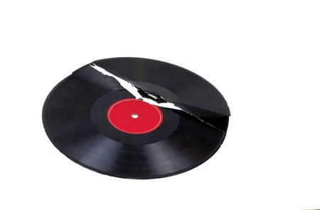 Broken record isolated on white