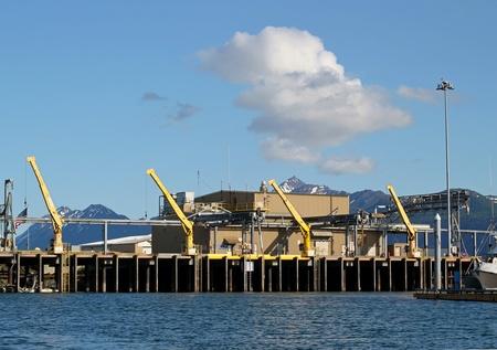 alaska pollock: Commercial fish processing dock in Alaska Editorial