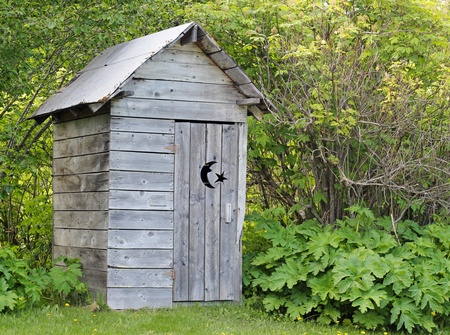 Alaskan rustic outhouse in summer