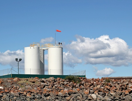 White fuel tanks on a sunny summer day Stock Photo - 10360867