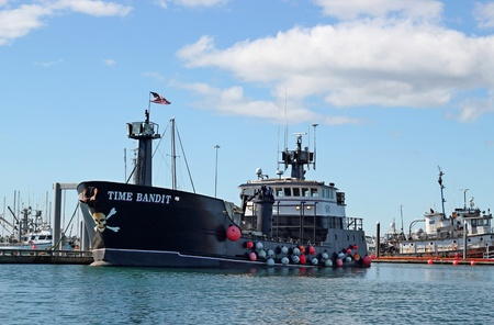 HOMER, ALASKA - AUGUST 28, 2011: The Time Bandit fishing boat from Discovery Channels popular Deadliest Catch series in the harbor at Homer, Alaska.