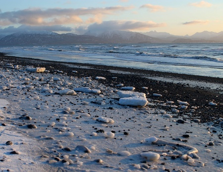 Ice and snow on a Kachemak bay beach in Alaska on a cold winter day. Stock Photo - 11910687