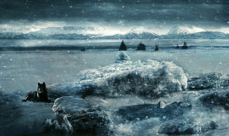 Fantasy scene with a woman frozen in the ice with a wolf standing guard created with texture layers and photo manipulation.