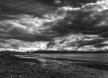 A stormy day at an Alaskan beach in black and white with dramatic clouds. Stock Photo - 13025153