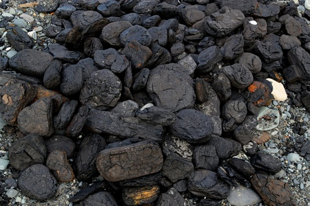 Pile of natural coal chunks washed up on an Alaskan beach near a coal seam