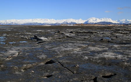 mud and snow: Large chunks of broken ice at low tide in an Alaskan bay on a sunny day with snow covered mountains in the background.