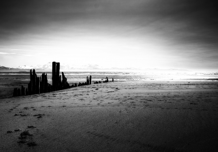 Artistic black and white beach scene with old pier pillars leading into the light. Stock Photo