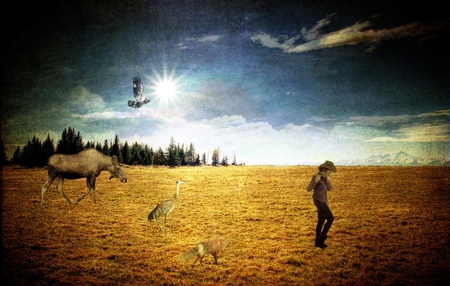photo manipulation: Fantasy photo manipulation with a moose, sandhill crane, hawk and fox following a piper in a field with texture layers for an artistic look.
