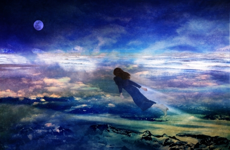 Woman flying over dreamy  landscape in a fantasy scene based on a dream combining photographic elements with digital drawing. Stock Photo