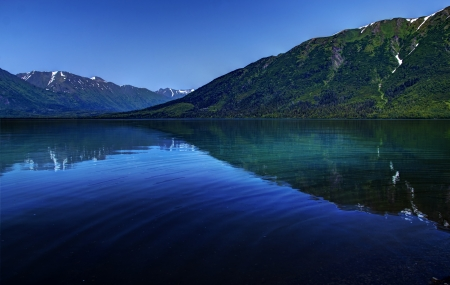 cooper: Kenai Lake in Alaska near Cooper Landing on a bright sunny day with mountain reflections in the water and a ripple with a bright blue sky.