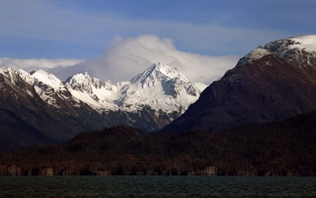 homer: First snow on the Kenai Mountains across from Homer Alaska in autumn. Stock Photo