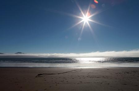 Sunburst in blue sky over a sandy beach near Homer Alaska with interesting driftwood.