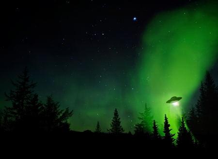 우주선: UFO landing at night in the forest with trees and stars.