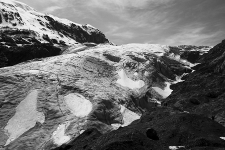 Exit Glacier near Seward Alaska in early summer in black and white.