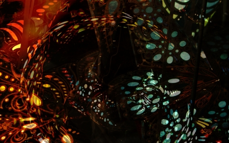 photomanipulation: Abstract of photomanipulated patterns and light.