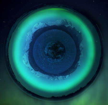 photomanipulation: Little planet created with photo manipulation with Alaskan mountains, water and the earth.