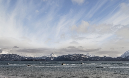 homer: Small boats racing for the harbor in Homer Alaska during a fishing derby  Stock Photo