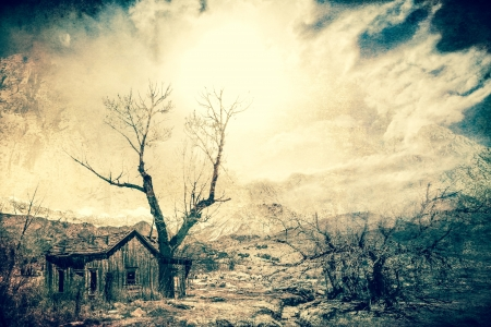 Stark western scene created with textures and overlays of nature reclaiming an old homestead.
