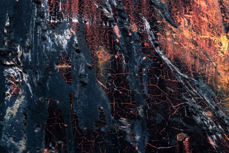dripped: Industrial texture of oil dripped on peeling painted rusty metal.