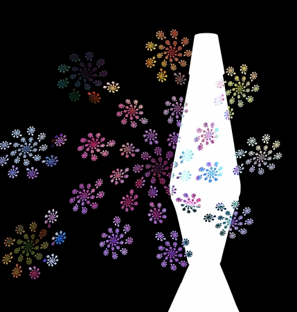 Groovy 60s illustration with lava lamp and flowers. illustration