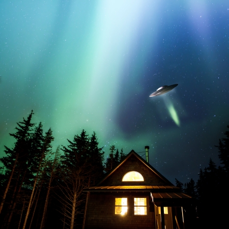 UFO flying over an Alaskan cabin with colorful nothern lights in the night sky.
