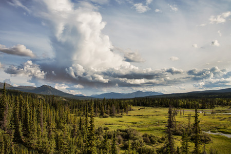 whitehorse: Yukon Territory wilderness views in summer wih clouds. Stock Photo