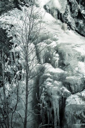 icefall: Ice fall in Alaska in black and white.