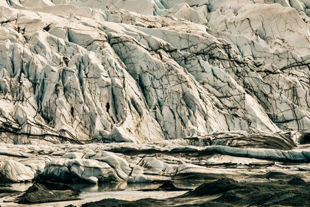 Patterns in the ice of the melting Matanuska glacier in Southcentral Alaska.