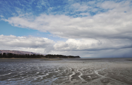 homer: Mud flats at low tide on the Kachemak Bay near Homer Alaska in summer with clouds. Stock Photo
