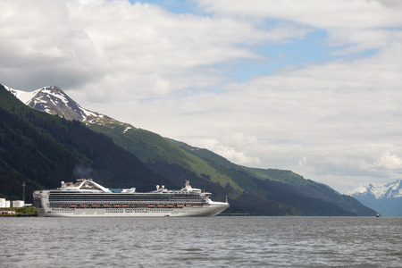Large cruise ship in port at Juneau Alaska in summer.