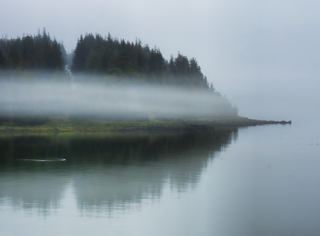 southeast alaska: Fog engulfing an island in Southeast Alaska with reflections in the water