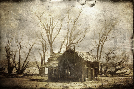 Remains of an old homestead in winter processed with textures for a vintage look.