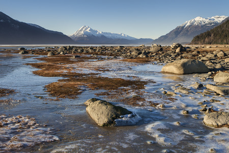 inlet: First ice of the season on the Chilkat Inlet beach near Haines Alaska on a sunny day. Stock Photo