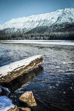 not open: Chilkat River in Alaska with an unusual open flowing water in December.