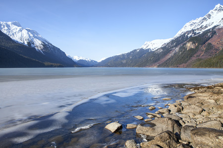 frozen lake: Melting ice on Chilkoot Lake near Haines Alaska on a sunny day.
