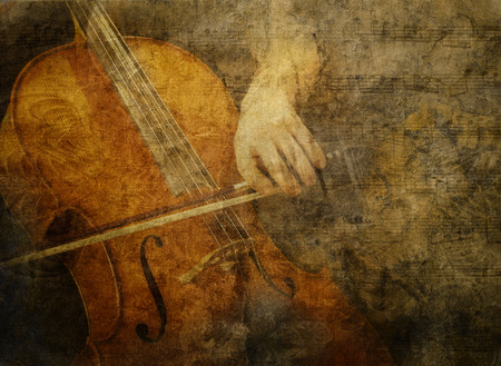 Classic cello being played overlaid with textures and sheet music for a vintage artistic look.