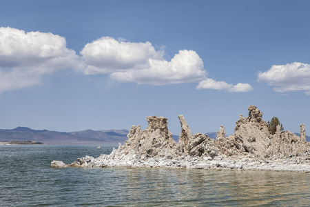 sierras: Mono Lake in Californias high desert with tufa towers and puffy clouds.