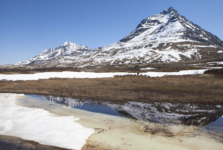 elevation: Pool formed by melting snow in spring at high elevation mountains in Canada.