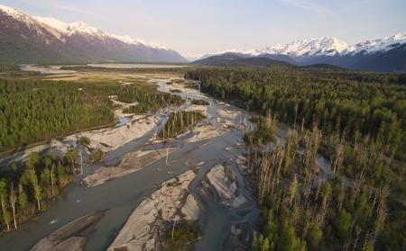 southeast alaska: Klehini river channels in Southeast Alaska taken from a drone in evening light.