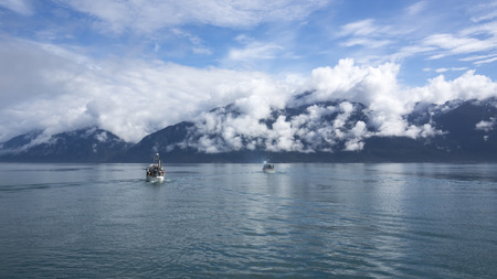 fishing fleet: Commercial salmon fishing boats heading out to fish in the Lynn Canal near Haines Alaska.