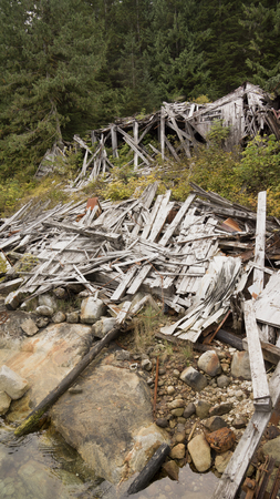 collapsed: Collapsed building at a remote abandoned cannery town on Princess Royal Island in British Columbia. Stock Photo
