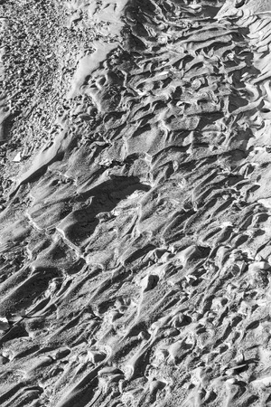 silt: Patterns left in river silt by receeding water in black and white.